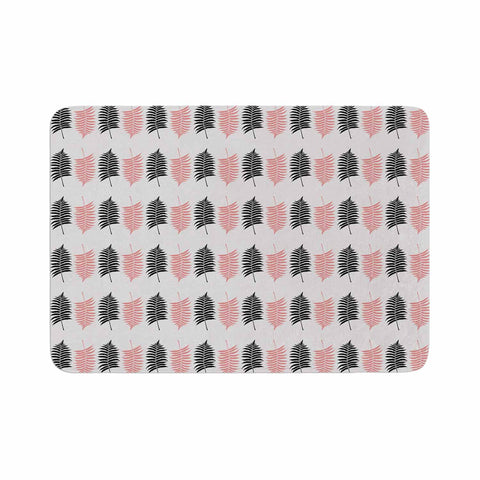 "Cafelab ""Ferns Pattern"" Pink Black Floral Nature Illustration Vector Memory Foam Bath Mat"
