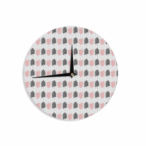 "Cafelab ""Ferns Pattern"" Pink Black Floral Nature Illustration Vector Wall Clock"