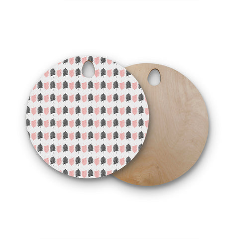 "Cafelab ""Ferns Pattern"" Pink Black Floral Nature Illustration Vector Round Wooden Cutting Board"