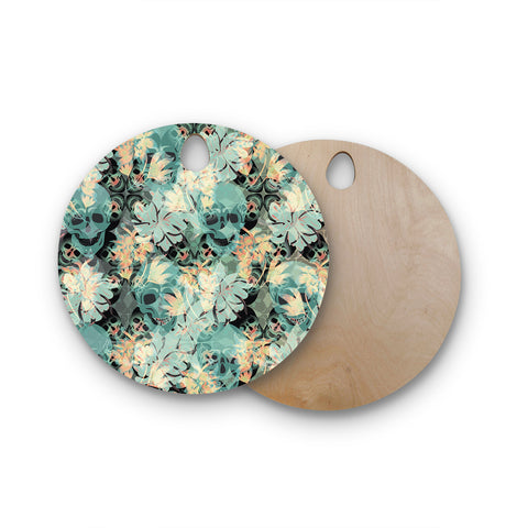 "Akwaflorell ""Dead's Head Party"" Round Wooden Cutting Board"