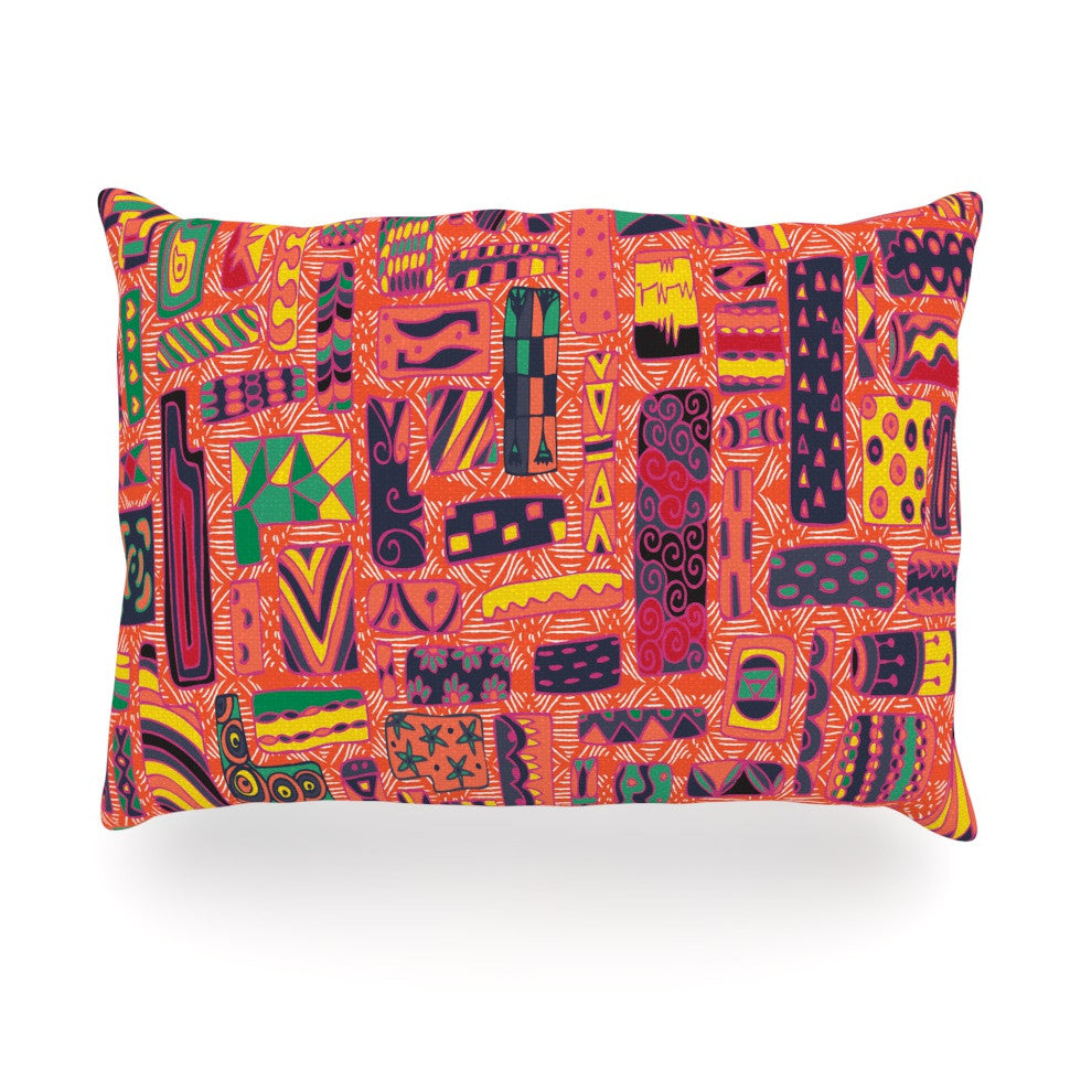 "Akwaflorell ""Squares"" Oblong Pillow - KESS InHouse"