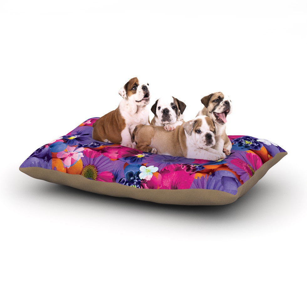 "Akwaflorell ""Find the Tiger"" Purple Pink Dog Bed - KESS InHouse  - 1"