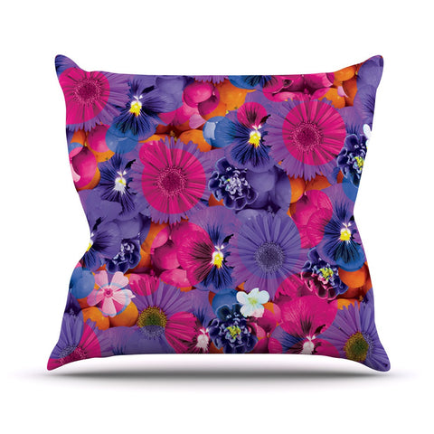 "Akwaflorell ""Find the Tiger"" Purple Pink Outdoor Throw Pillow - KESS InHouse  - 1"