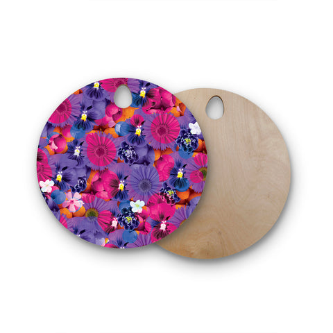 "Akwaflorell ""Find the Tiger"" Purple Pink Round Wooden Cutting Board"