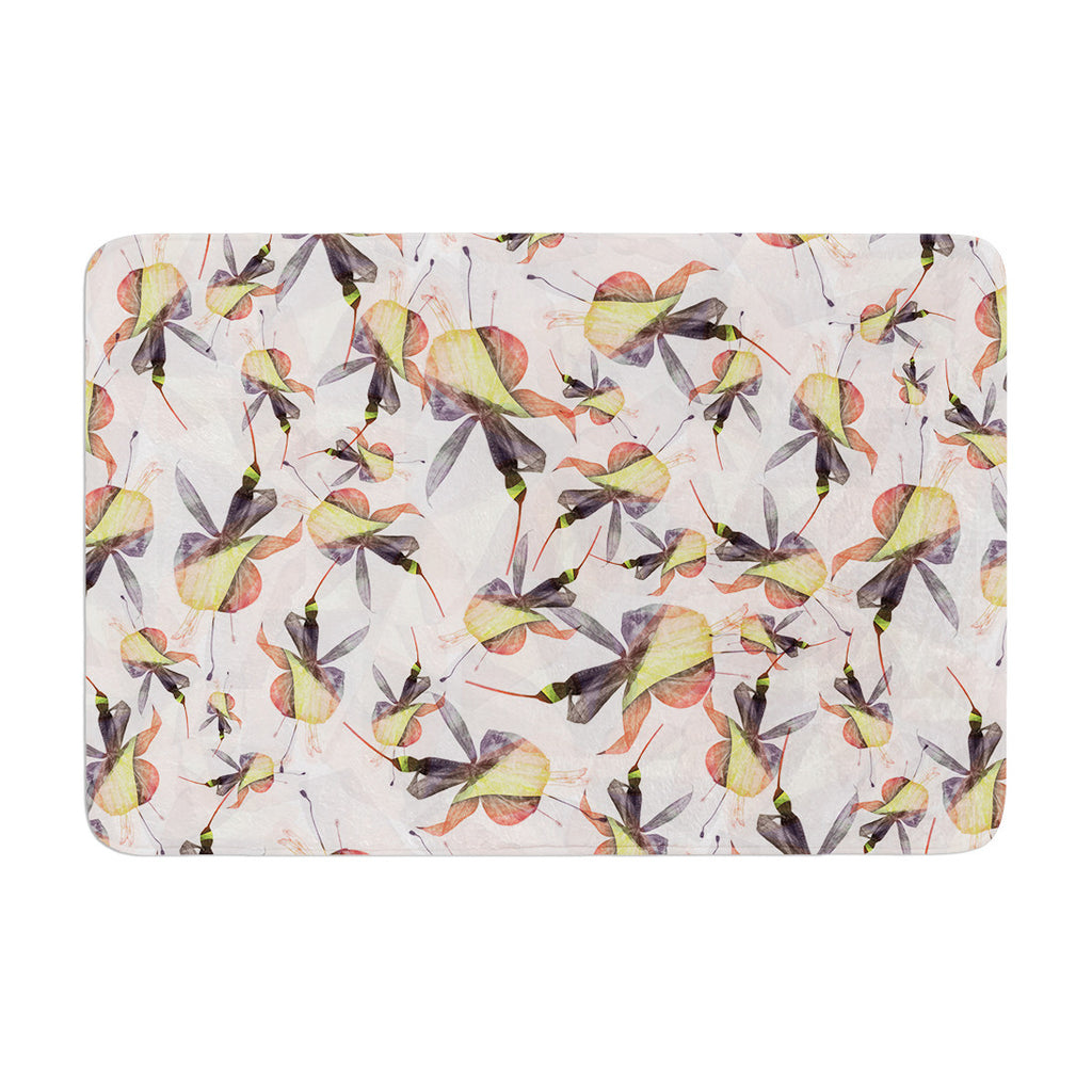 "Akwaflorell ""Fuchsia on the Wind"" Yellow Memory Foam Bath Mat - KESS InHouse"