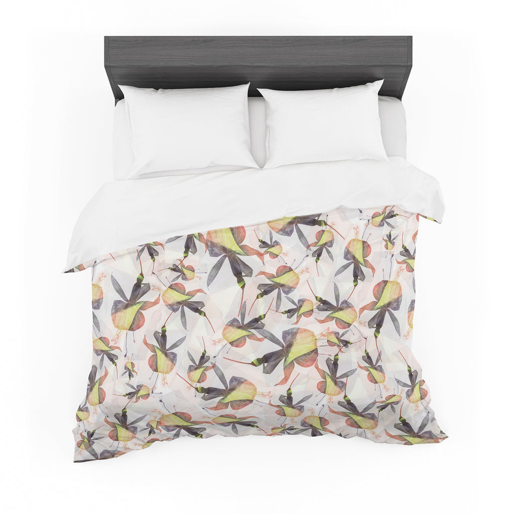 "Akwaflorell ""Fuchsia on the Wind"" Yellow Featherweight Duvet Cover"