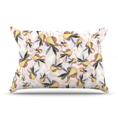 "Akwaflorell ""Fuchsia on the Wind"" Yellow Pillow Sham - KESS InHouse  - 1"