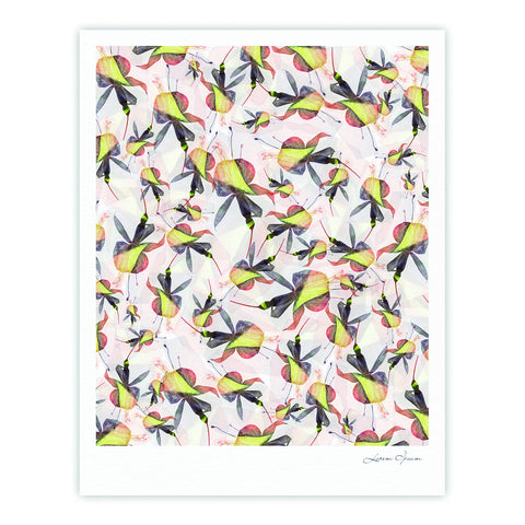 "Akwaflorell ""Fuchsia on the Wind"" Yellow Fine Art Gallery Print - KESS InHouse"