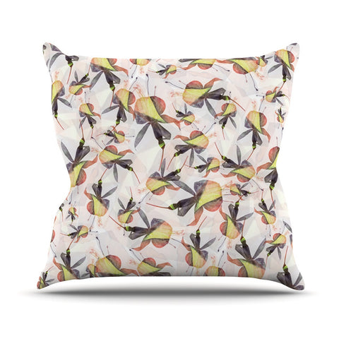 "Akwaflorell ""Fuchsia on the Wind"" Yellow Outdoor Throw Pillow - KESS InHouse  - 1"