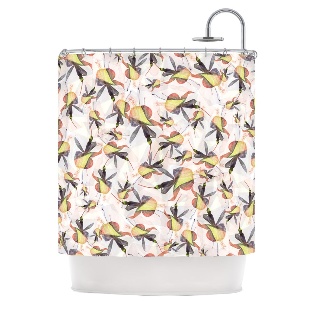 "Akwaflorell ""Fuchsia on the Wind"" Yellow Shower Curtain - KESS InHouse"
