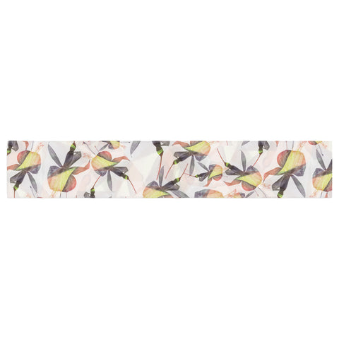 "Akwaflorell ""Fuchsia on the Wind"" Yellow Table Runner - KESS InHouse  - 1"