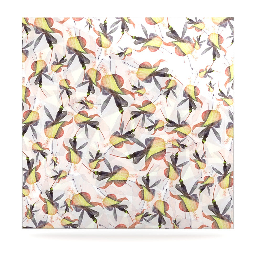 "Akwaflorell ""Fuchsia on the Wind"" Yellow Luxe Square Panel - KESS InHouse  - 1"