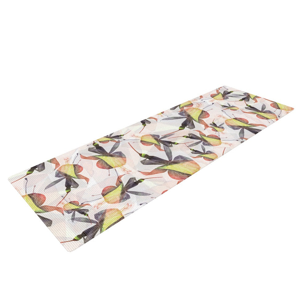 "Akwaflorell ""Fuchsia on the Wind"" Yellow Yoga Mat - KESS InHouse  - 1"