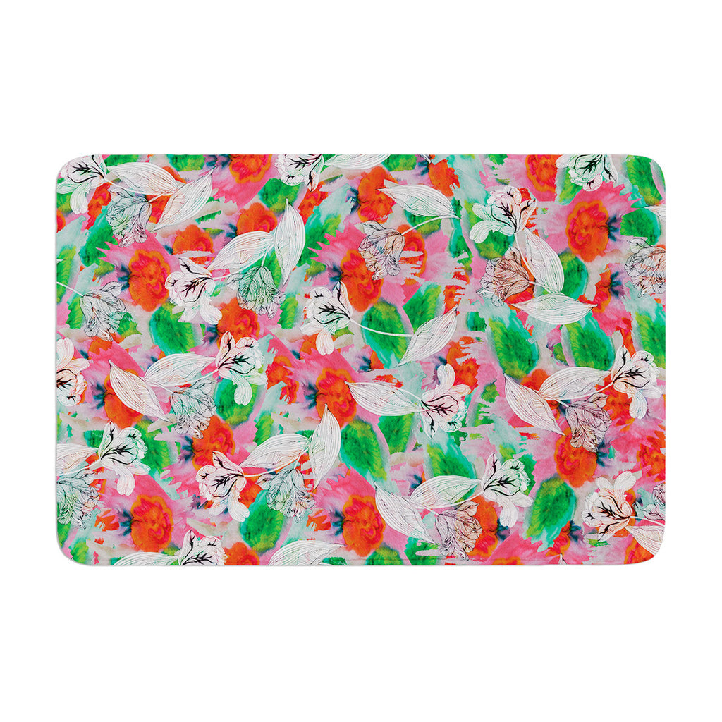 "Akwaflorell ""Flying Tulips"" Red Green Memory Foam Bath Mat - KESS InHouse"