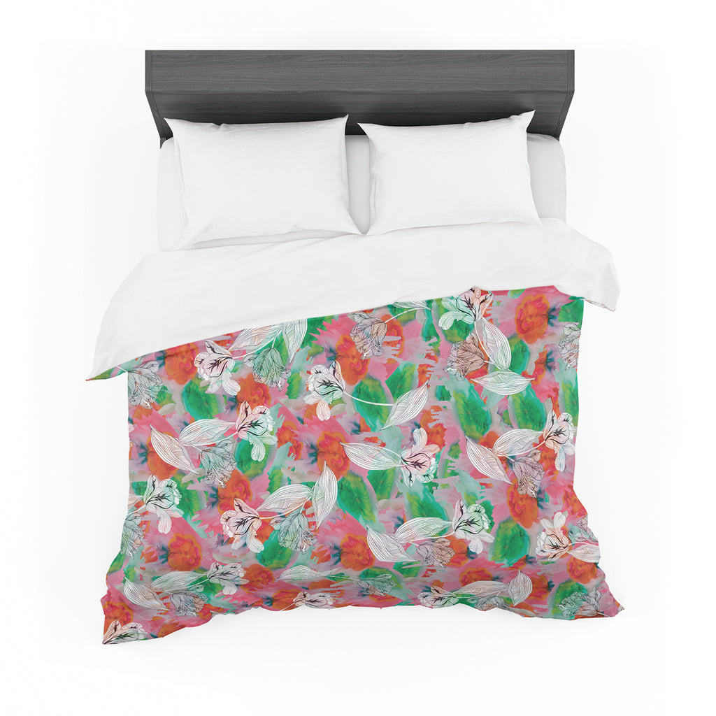 "Akwaflorell ""Flying Tulips"" Red Green Featherweight Duvet Cover"
