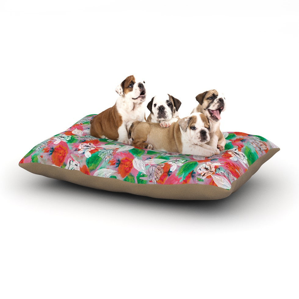 "Akwaflorell ""Flying Tulips"" Red Green Dog Bed - KESS InHouse  - 1"