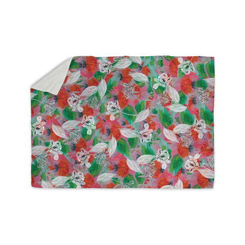 "Akwaflorell ""Flying Tulips"" Red Green Sherpa Blanket - KESS InHouse  - 1"
