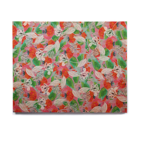 "Akwaflorell ""Flying Tulips"" Red Green Birchwood Wall Art - KESS InHouse  - 1"