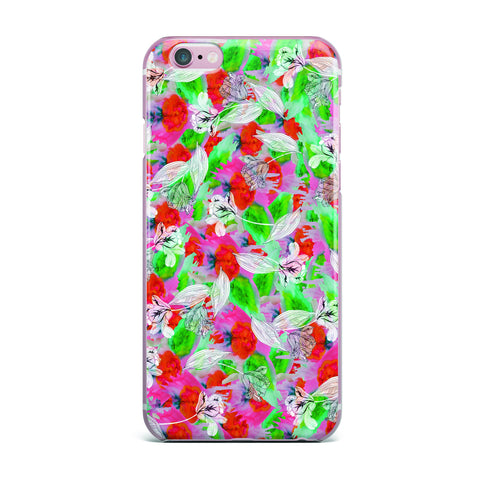 "Akwaflorell ""Flying Tulips"" Red Green iPhone Case - KESS InHouse"