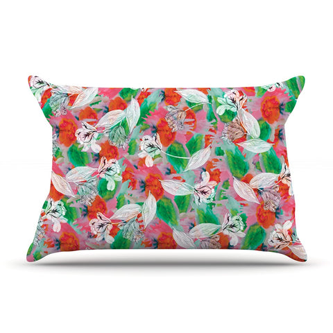 "Akwaflorell ""Flying Tulips"" Red Green Pillow Sham - KESS InHouse  - 1"