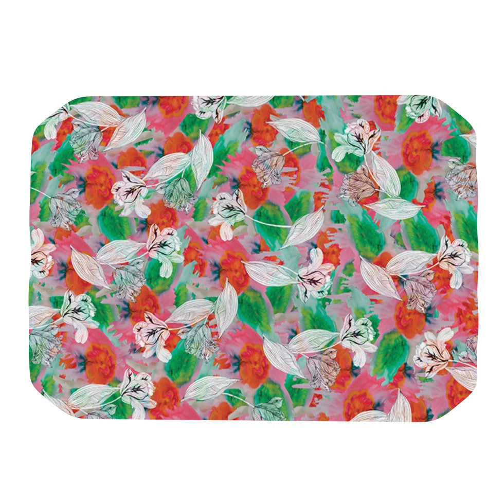 "Akwaflorell ""Flying Tulips"" Red Green Place Mat - KESS InHouse"