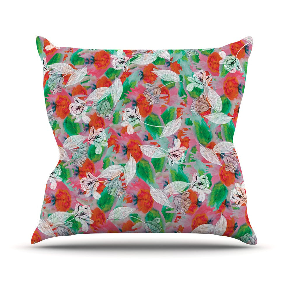 "Akwaflorell ""Flying Tulips"" Red Green Outdoor Throw Pillow - KESS InHouse  - 1"