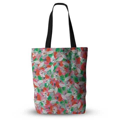 "Akwaflorell ""Flying Tulips"" Red Green Everything Tote Bag - KESS InHouse  - 1"