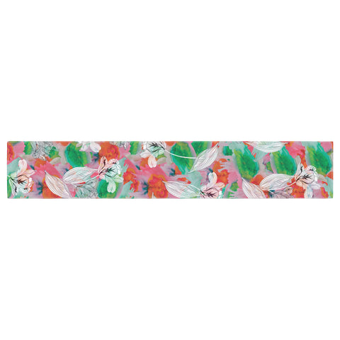 "Akwaflorell ""Flying Tulips"" Red Green Table Runner - KESS InHouse  - 1"