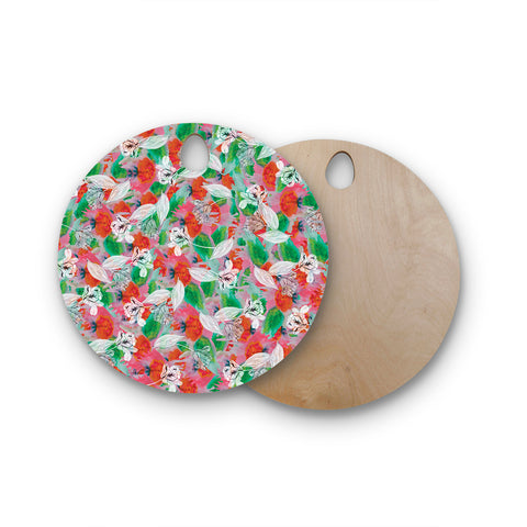 "Akwaflorell ""Flying Tulips"" Red Green Round Wooden Cutting Board"