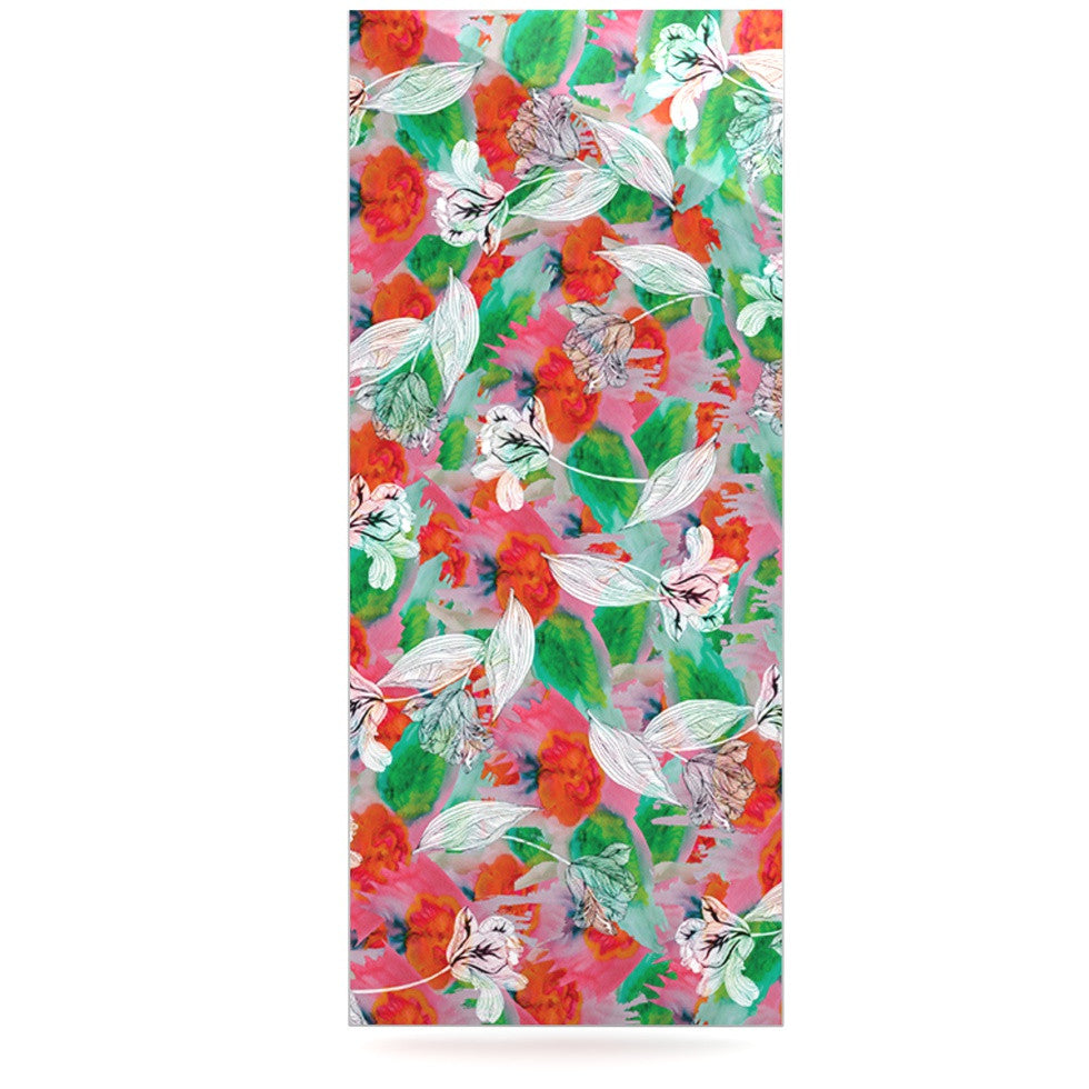 "Akwaflorell ""Flying Tulips"" Red Green Luxe Rectangle Panel - KESS InHouse  - 1"