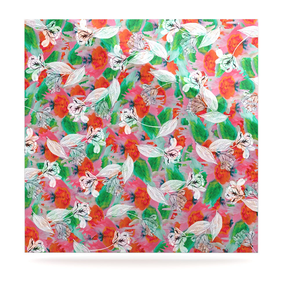 "Akwaflorell ""Flying Tulips"" Red Green Luxe Square Panel - KESS InHouse  - 1"