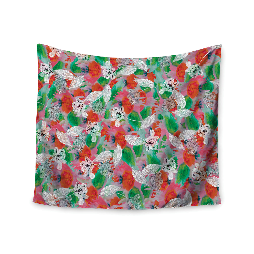 "Akwaflorell ""Flying Tulips"" Red Green Wall Tapestry - KESS InHouse  - 1"