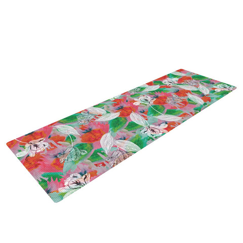 "Akwaflorell ""Flying Tulips"" Red Green Yoga Mat - KESS InHouse  - 1"