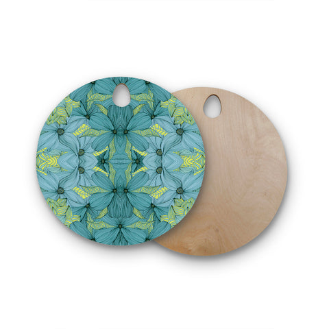 "Akwaflorell ""Blues in Blue"" Round Wooden Cutting Board"