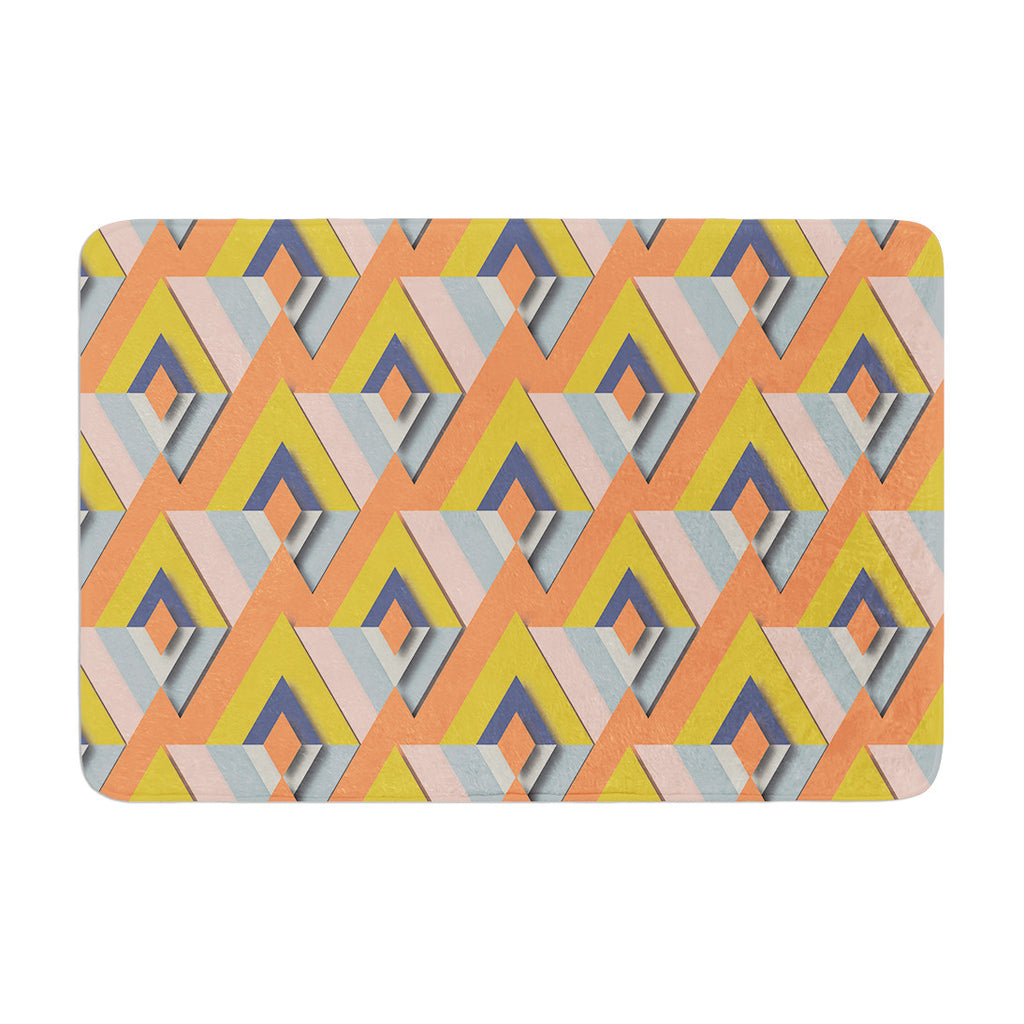 "Akwaflorell ""So Cool"" Orange Yellow Memory Foam Bath Mat - KESS InHouse"