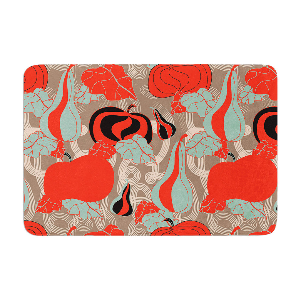 "Akwaflorell ""It's Pumpkin Time"" Red Teal Memory Foam Bath Mat - KESS InHouse"