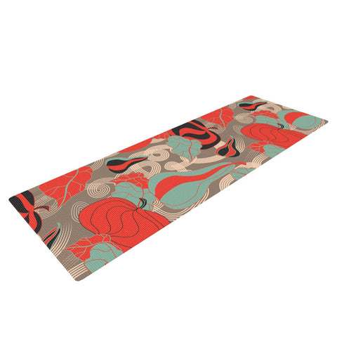 "Akwaflorell ""It's Pumpkin Time"" Red Teal Yoga Mat - KESS InHouse  - 1"
