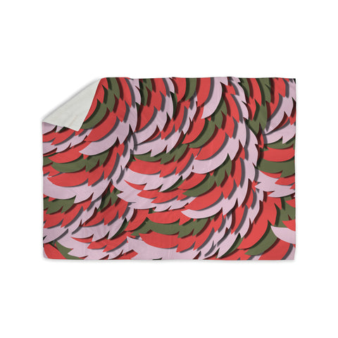 "Akwaflorell ""Wings"" Green Red Sherpa Blanket - KESS InHouse  - 1"