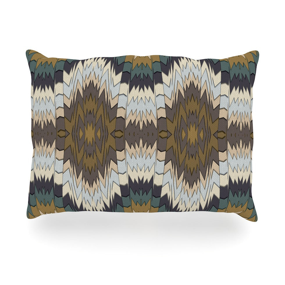 "Akwaflorell ""Papercuts"" Brown Geometric Oblong Pillow - KESS InHouse"