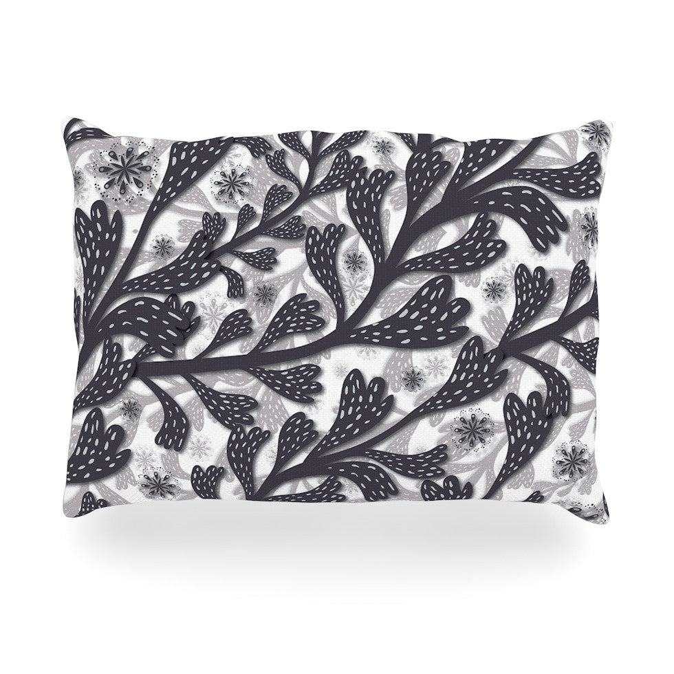 "Akwaflorell ""Snow Houses"" Gray Abstract Oblong Pillow - KESS InHouse"