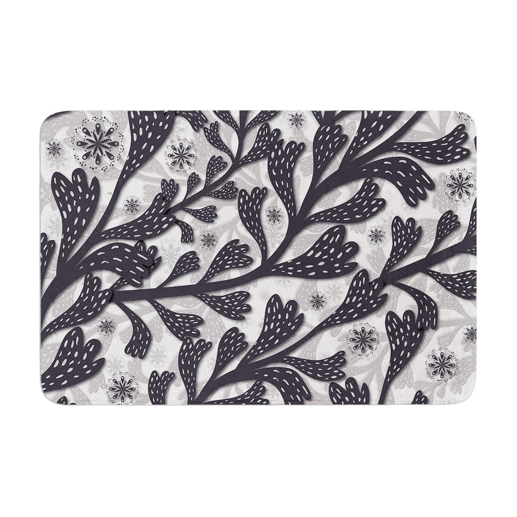 "Akwaflorell ""Snow Houses"" Gray Abstract Memory Foam Bath Mat - KESS InHouse"