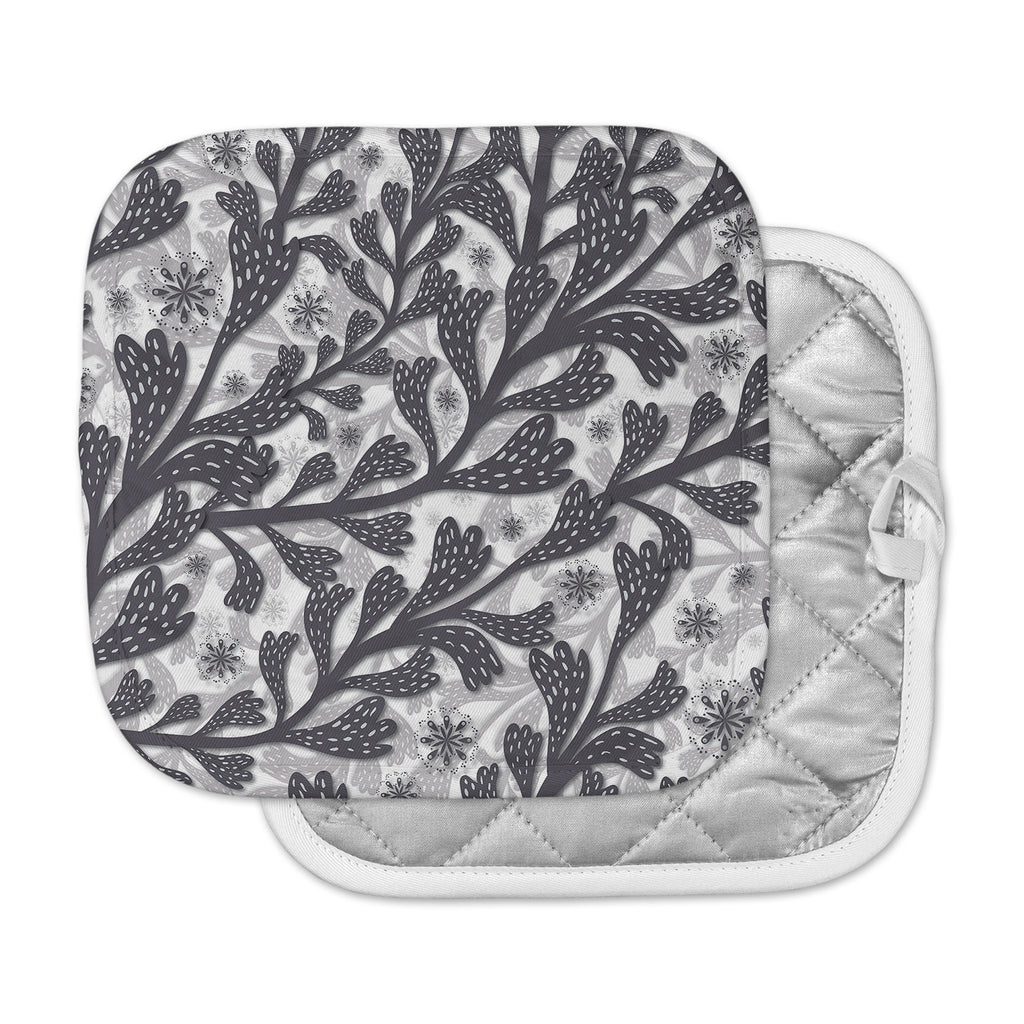 "Akwaflorell ""Snow Houses"" Gray Abstract Pot Holder"