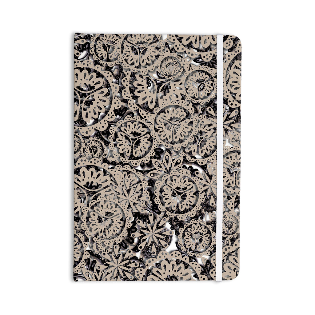 "Akwaflorell ""Snowflakes"" Brown Geometric Everything Notebook - KESS InHouse  - 1"