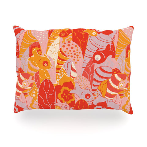 "Akwaflorell ""Fishes Here, Fishes There"" Orange Red Oblong Pillow - KESS InHouse"