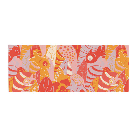 "Akwaflorell ""Fishes Here, Fishes There"" Orange Red Bed Runner - KESS InHouse"