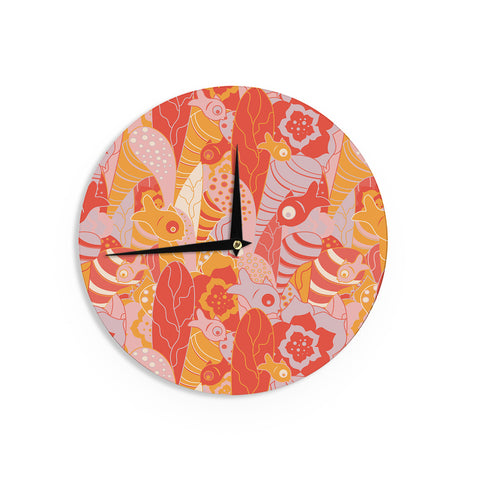 "Akwaflorell ""Fishes Here, Fishes There"" Orange Red Wall Clock - KESS InHouse"