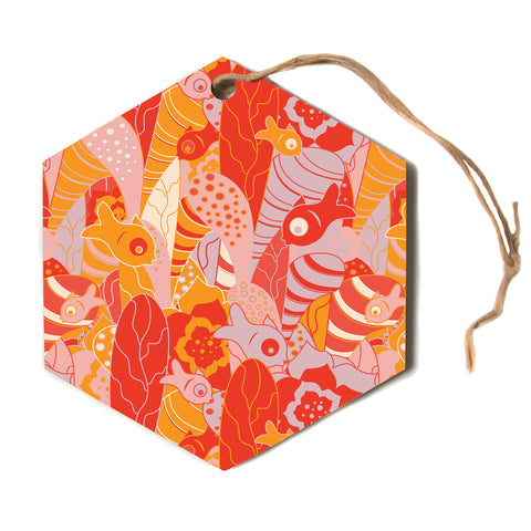 "Akwaflorell ""Fishes Here, Fishes There"" Orange Red Hexagon Holiday Ornament"