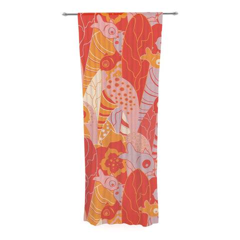 "Akwaflorell ""Fishes Here, Fishes There"" Orange Red Decorative Sheer Curtain - KESS InHouse  - 1"