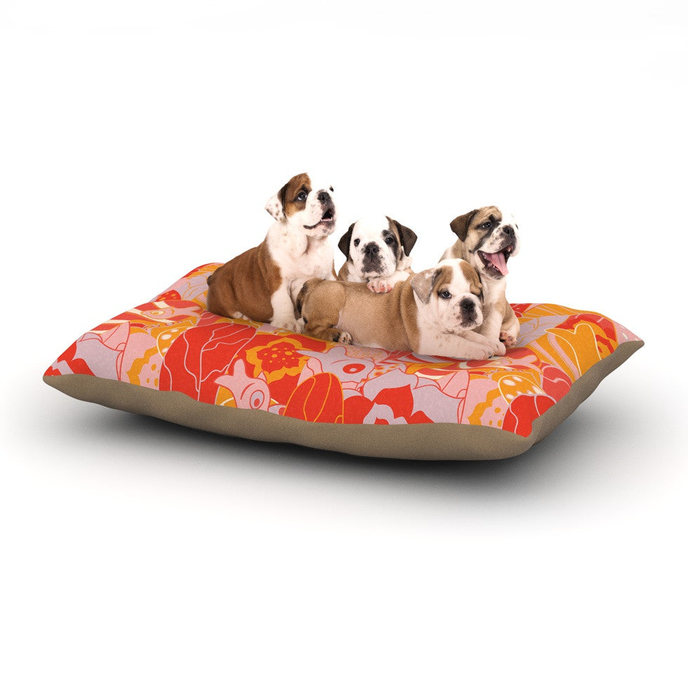 "Akwaflorell ""Fishes Here, Fishes There"" Orange Red Dog Bed - KESS InHouse  - 1"