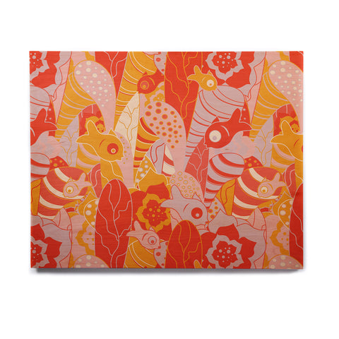 "Akwaflorell ""Fishes Here, Fishes There"" Orange Red Birchwood Wall Art - KESS InHouse  - 1"